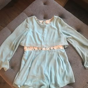 Altar'd State Teal and Lace Short Romper